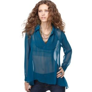 Free people pleated teal chiffon top